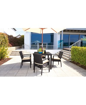 Garden Furniture - Cozy Bay Cumberland 4 Seater Rattan Furniture Black 4 Line Stackable Bistro Set