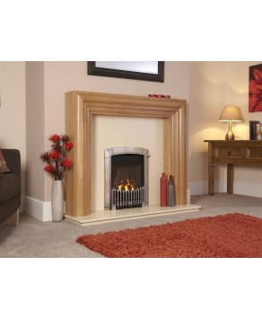 Designer Fire - Flavel FHEC3RMN Caress HE Hearth Mounted Contemporary Silver - MC