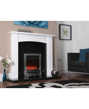 Designer Fire Electric - Celsi  Bauhaus Hearth Mounted Silver 16""