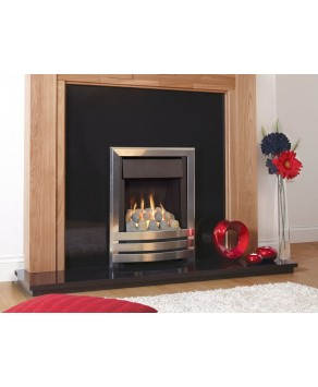 Flavel Windsor HE Open Fronted Contemporary Plus Gas Fire- MC Pebble Silver