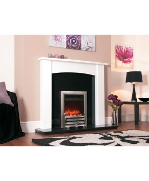 Designer Fire Electric  - Celsi Traditional Insert Daisy Satin Silver 16''