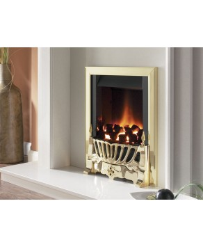 Designer Fire - Flavel FIRC14MN Brass  Warwick Traditional Slimline Gas Fire – MC
