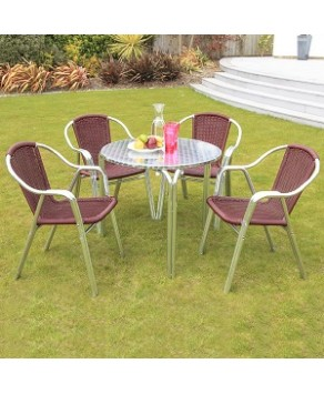 Garden Furniture - Cozy Bay Maroon 4 Seat 80cm Table Set