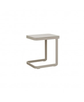 Garden Furniture - Amelia Aluminium U Shape Side Table (Light Taupe)