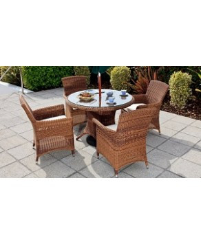 Garden Furniture - Cozy Bay Panama 4-Seater Rattan Furniture Java Honey Garden Conservatory Dining Set