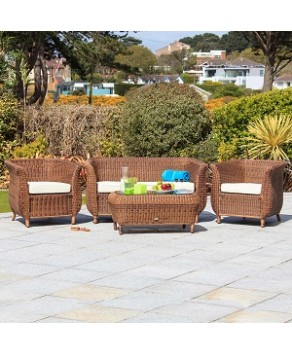 Garden Furniture - Cozy Bay Jamaica 4 Seat Rattan Furniture Garden Conservatory Deep Seating Set