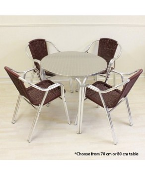 Garden Furniture - Cozy Bay Cappuccino 4 Seater Rattan Furniture Maroon Restaurant Stackable Bistro Set