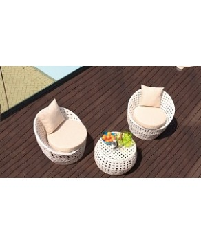 Garden Furniture - Cozy Bay Peble 2 Seater Rattan Furniture White Super Garden Conservatory Tea For Two Set