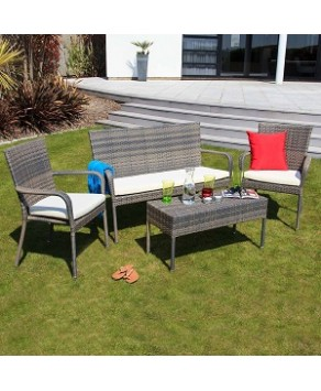 Garden Furniture - Oseasons Winchester 4-Seater Rattan Furniture Walnut Garden Patio Deep Seating Set