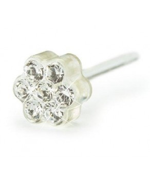 Nickel Free -Medical Plastic Earring Daisy Crystal 5 mm (with Swarovski Crystal) -