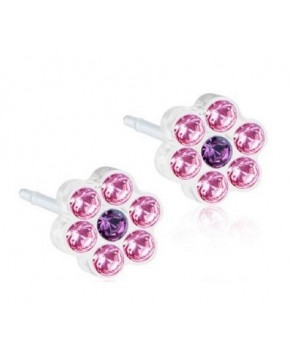 Nickel Free-  Medical Plastic Earring Daisy Light Rose/Amethyst 5mm (with Swarovski Crystal)