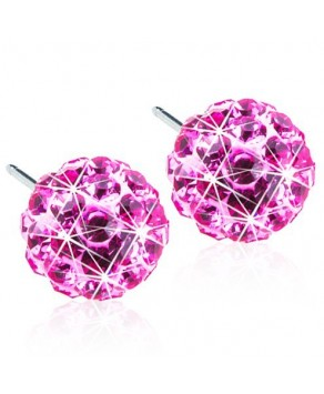 Nickel Free - Natural Titanium Earring Crystal Ball Rose 6 mm