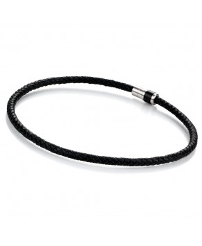 TeNo Leather Collier DYKON stainless steel buckle with black ceramic - Teno Size: