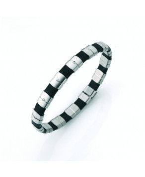 TeNo bracelet ShiKou steel rubber with 5 diamonds - Teno Size: