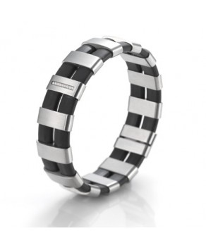 TeNo bracelet ShiKou stainless steel with rubber and 9 diamonds - Teno Size: