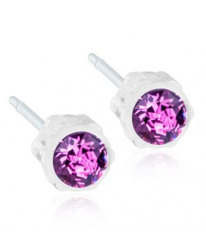 Nickel Free - Medical Plastic Earring  Amethyst 4 mm